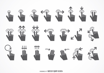 Touch gestures icon set - Free vector #199521