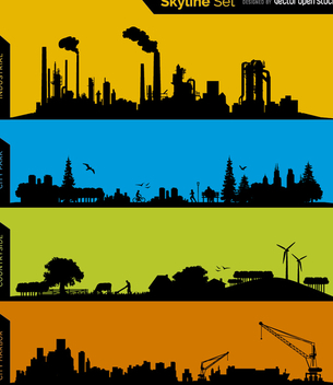 skyline silhouettes - Industrial, Park, Conuntryside and Harbor - Free vector #199661