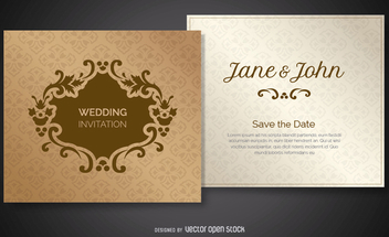 Decorated Wedding Invitation - Free vector #199671