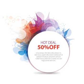 Colorful Hot Deal Circle Banner - vector gratuit #199711