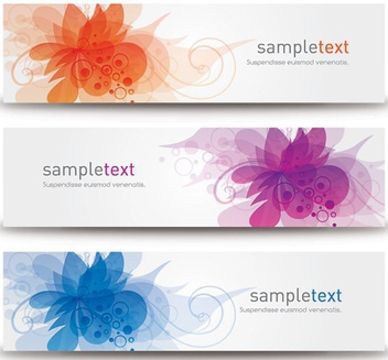 Flower Blossoms 3 Banners - vector gratuit #199741