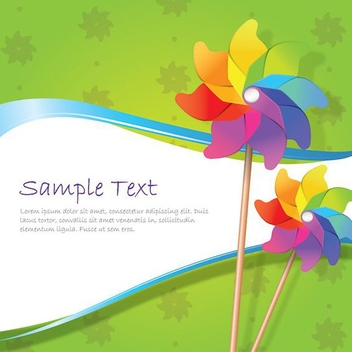 White Wave Windmills Green Background - vector gratuit(e) #199761
