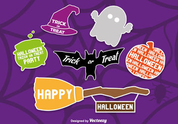 Scrapbook Style Halloween Icons - Free vector #199851