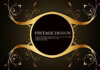 Shiny Golden Frame with Floral Element Vectors - Free vector #199951
