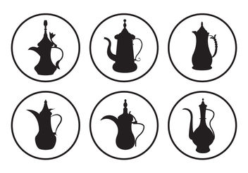 Arabic Coffee Pot Vectors - vector gratuit #200281
