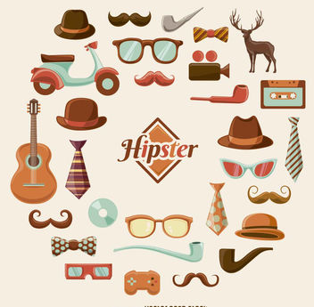 Hipster cartoon graphic set - vector gratuit(e) #200511