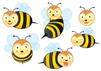 Cute Bee Vectors! - Free vector #200531