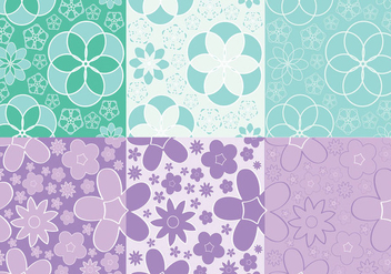 Girly Flowers Pattern Vectors - Free vector #200541