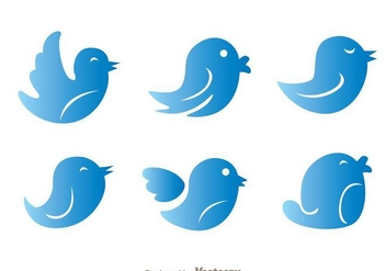 Blue Gradation Twitter Bird Vectors - Free vector #200561