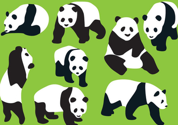 Panda Bear Silhouette Vectors - Free vector #201351