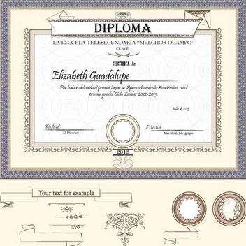 Diploma Certificate Design Template - Free vector #201411