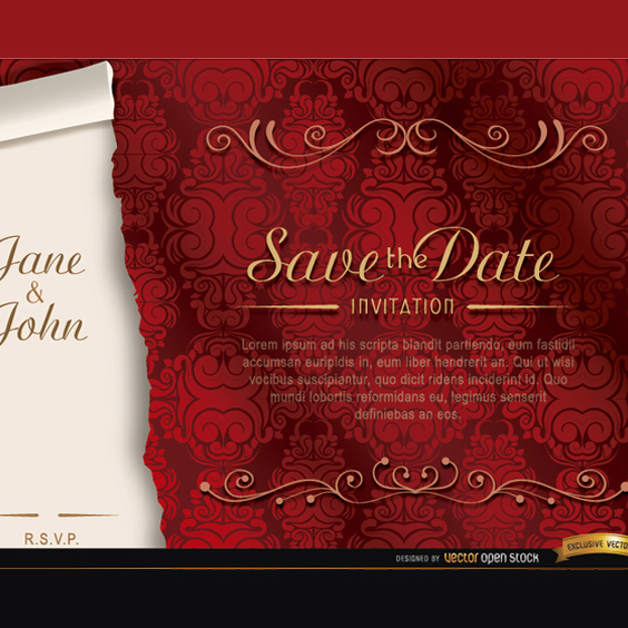 Free Elegant Red Marriage Vector Invitation - Free vector #201871