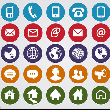 Free Vector Round Web Contact Icons - vector gratuit #201891