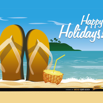 Beach Sandals Cocktail Vector Background - Kostenloses vector #201941