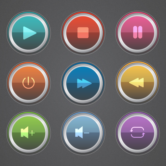 Colorful Glossy Music Button Vectors - Free vector #202121