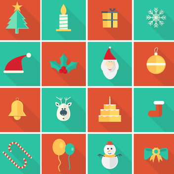 Flat Vector Christmas Ornaments and Icons - Free vector #202141