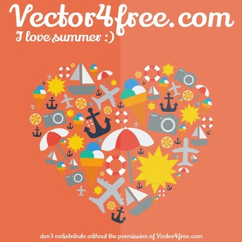 I Love Summer - vector gratuit #202711