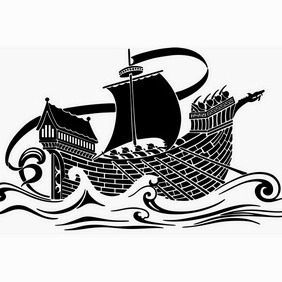 Medieval Ship Stencil - vector #203031 gratis