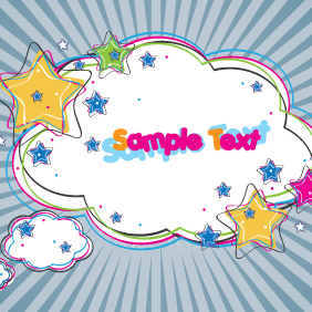 Colorful Cloud Banner Design - vector gratuit #203291
