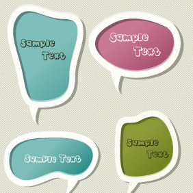Scrapbook Vector Chat Bubbles Set - Free vector #203651