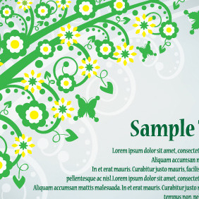 Green Card With Flowers - Kostenloses vector #203781