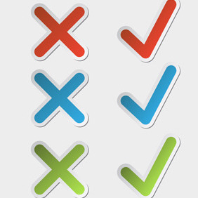 Free Vector Of The Day #69: Check Mark Stickers - vector gratuit #204261