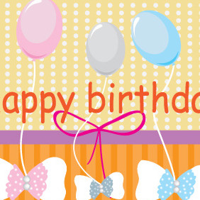 Happy Birthday Card With Baloons - Free vector #204371