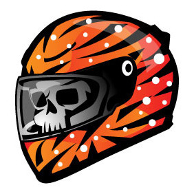 Racing Helmet Vector Illustration - бесплатный vector #204441