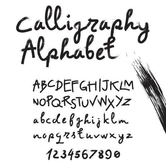 Алфавит каллиграфии - бесплатный vector #205331