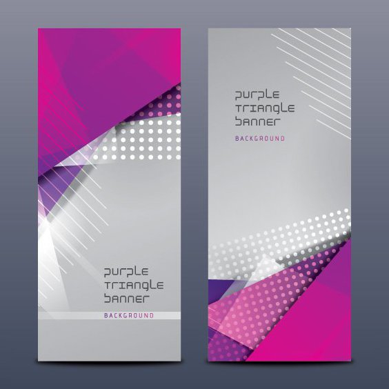 Purple Triangle Banners - Free vector #205401