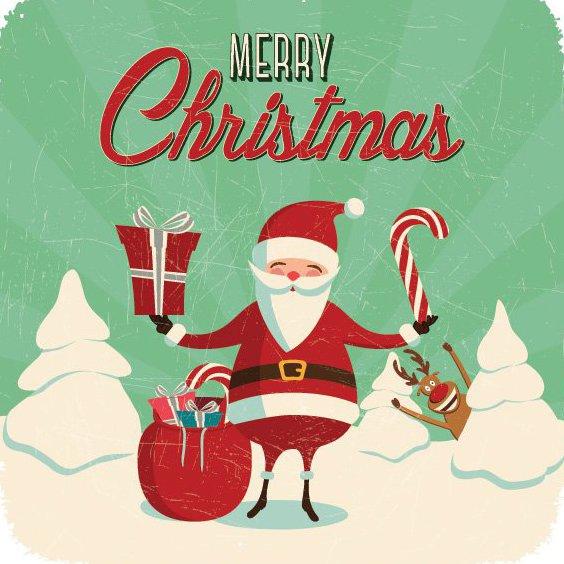 Santa and Rudolph - Free vector #206191