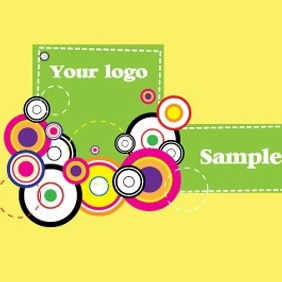 Colorful Retro Circles Card Design - vector gratuit #206831