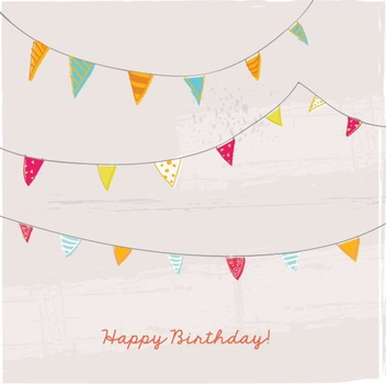 Birthday Bunting Card - vector gratuit #206921