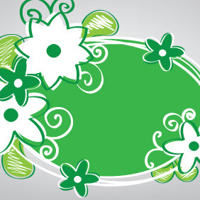 Handly Green Banner With Flowers - vector gratuit(e) #207121