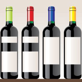Wine Bottle Vectors - Free vector #207301