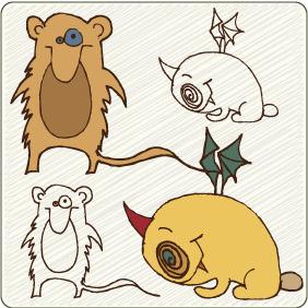 Cute Monsters 7 - vector #209291 gratis