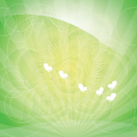 Yellow Flower With Butterfly In Green Background - vector gratuit(e) #209551