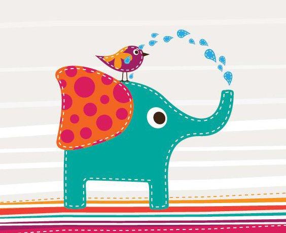 Niedliche Elefanten und Vögel - Free vector #209991
