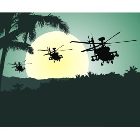 Helicopters At Sunset - Free vector #210211