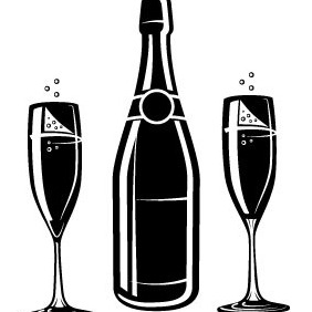 Champagne Bottle And Glasses - Free vector #210781