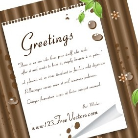 Green Leaves And Note Paper On Wooden Background - Free vector #210971