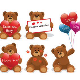 Valentine Teddy Bears - бесплатный vector #211011
