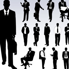 Silhouettes Of Businessmen Vector - vector gratuit(e) #211131