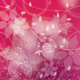 Pink Floral Art Free Vector Illustration - Free vector #211251