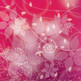 Pink Floral Art Free Vector Illustration - Free vector #211251