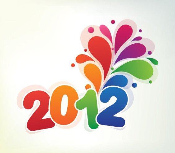 Красочный Новый 2012 - бесплатный vector #211631