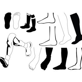 Leg And Feet Silhouette - vector gratuit #212111