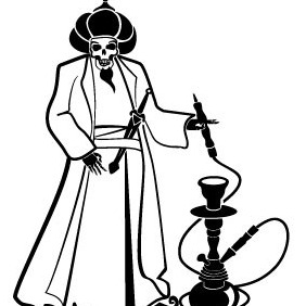 Man With Hookah Vector - Free vector #212131
