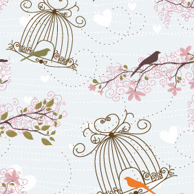Free Vector Birds Seamless Pattern - Kostenloses vector #212211