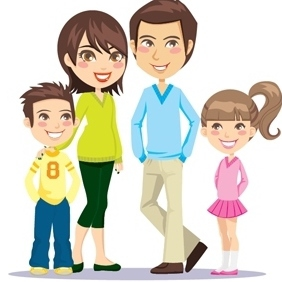 Vector Of A Happy Family - vector #212621 gratis